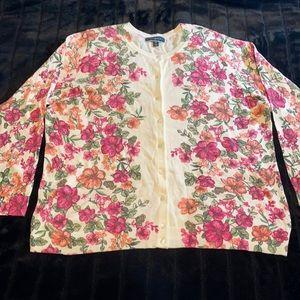 Karen Scott - pink and coral floral Carnigan -NWOT